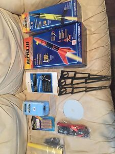 Lot of rockets with engines and launch pad