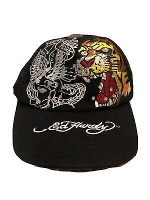 Ed Hardy New York Snapback Hat Cap Mesh Black Trucker Tiger Embellished Bling Ed Hardy New Tiger
