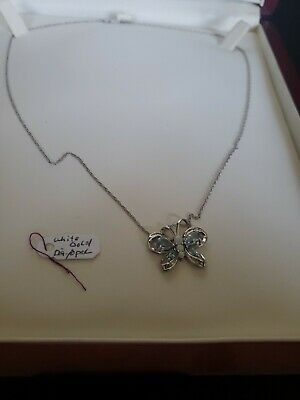 18 Inch White Gold necklace And Pendant Butterfly Diamond Opal And Blue Topaz