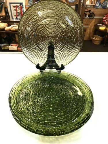 "Anchor Hocking Soreno Glass Dinner Plates 10"" Set of 4 Avocado Green VTG MCM"