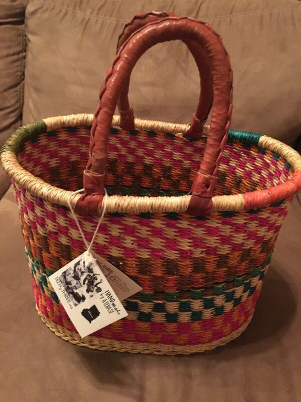 Handmade Bolga Market Dyed Woven Large Basket Ten By Three Org. By AYEBASE NWT
