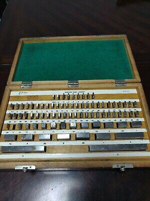 81 Piece Gage Block Set Gauge Blocks W Wooden Case -used 1 Missing Piece