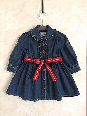 Ralph Lauren Baby Girls Demim Jean Dress Ruffle Front Long/Roll Tab Sleeve 6 M