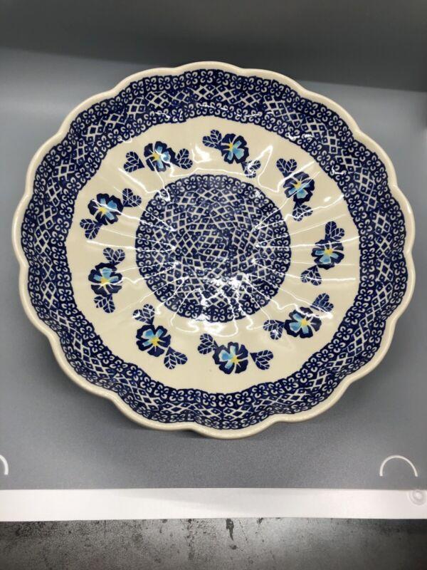 "BOLESLAWCU POLISH POTTERY Blue Flowers  Large Scalloped Serving Bowl - 11"""