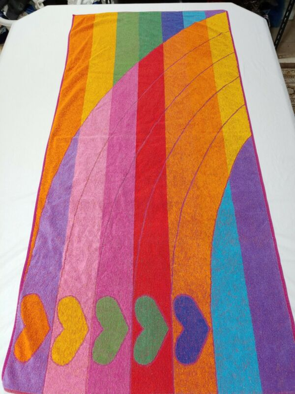 "Vintage Rainbow Stripe Hearts Colorful Beach Towel 54"" X 25"""