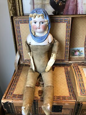 """Beautiful!! Antique German """"Blue Scarf"""" Parian 1800's Doll .. Body As Is"""