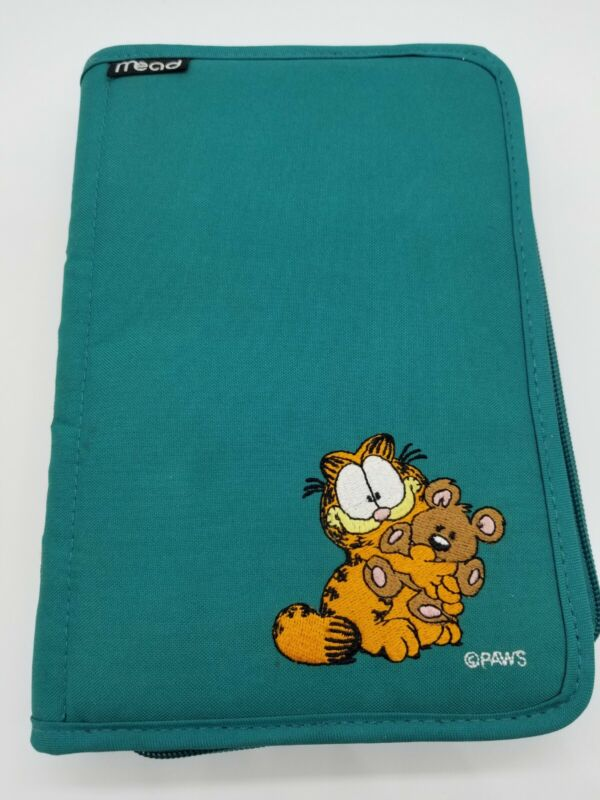 Vtg 90s Mead Garfield the Cat 6-Ring Binder Zippered Day Planner STAIN ON BACK55