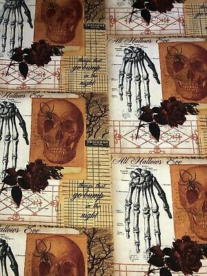 All Hallows Halloween (Creepy Halloween Spider Skull Skeleton Hand Rose All Hallows Eve Fabric)