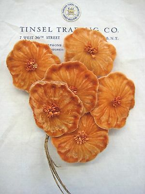 Vintage Antique Lt Rust Velvet Millinery Hat Flower UNUSED