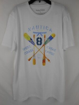 Nautica Mens Boating Graphic White L Large Oars Slim Fit T-Shirt NWT NEW