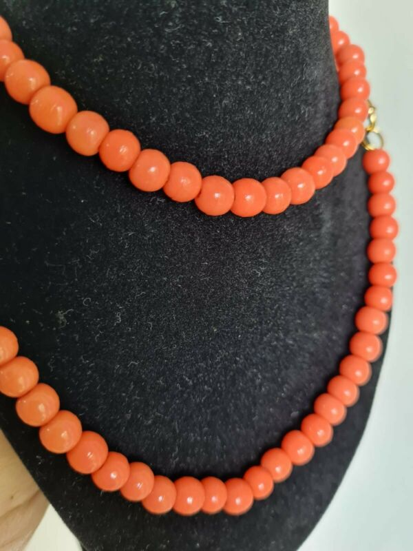 Antique coral necklace,  big beads, faux coral necklace, Art, recently restrung