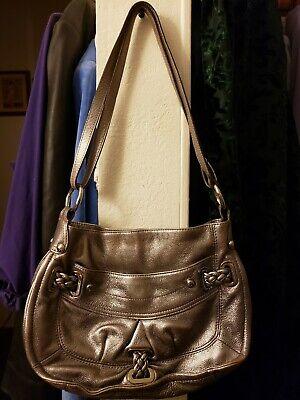 B. makowsky Pewter Leather Handbag