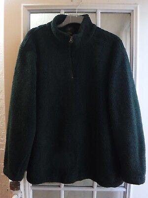 (Club Room Dark Green 1/3 Zip Up Mock Neck Thick Fleece Shirt Men's L *Excellent*)