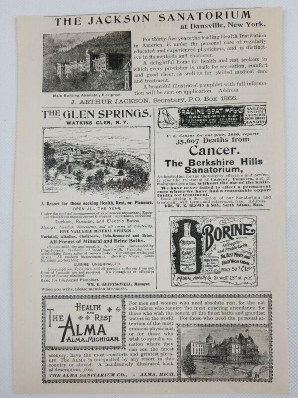 c.1895 Full Page Of Sanatorium Print Advertisments! A31