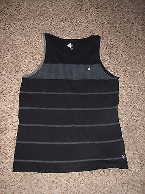 Mns Sz L Blk Gray Beige Striped Volcom Tank Top