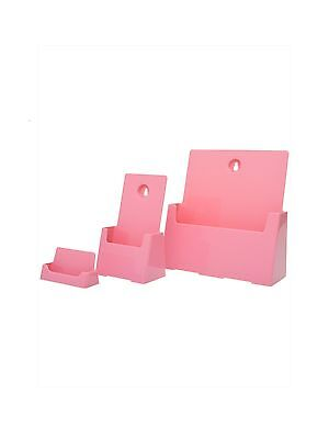 Pink Business Card Tri Fold Brochure Holder 3 Items
