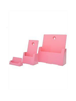 Pink Business Card Tri Fold Brochure Holder Desk Literature Pack 3 Items