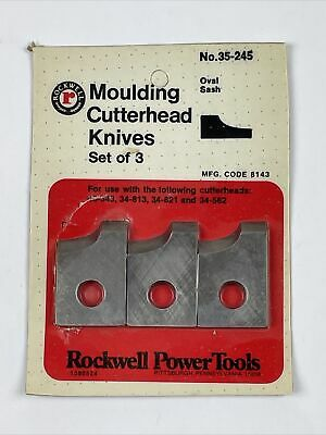 Rockwell Moulding Cutterhead Knives Set Of 3 No. 35-245 Oval Sash