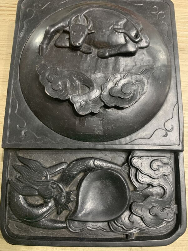"""Dragon and Ox Antique Chinese Ink Stone With Intricate Carvings Covered Lid 8"""""""