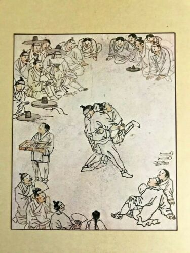 Art -  A Print from a Painting By a  Master Korean Artist Titled Wrestling Match