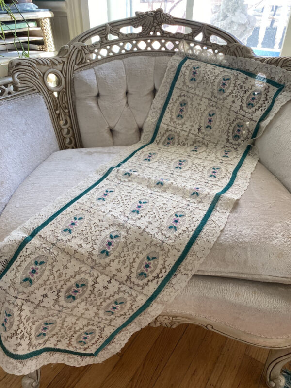 """Antique 1900's Cream Lace Runner Green~Pink Inset Floral Bouquets 42"""" Bordered"""