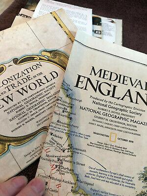 VTG Lot World Maps Medieval England Canada Japan Alaska Africa Barcelona