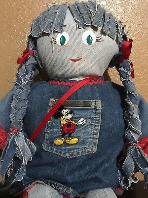 Jean Handmade Raggedy Rag Stuffed Doll Face Painted Wearing Mickey Mouse Jean
