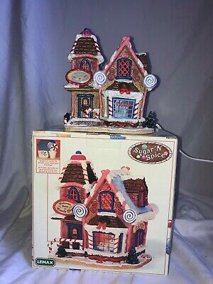 Lemax Sugar 'N Spice Molasses Falls Candy Shop Porcelain Lighted House Christmas