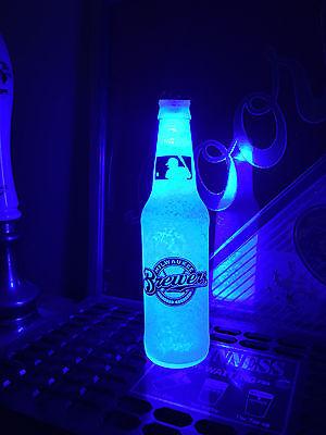 MLB Milwaukee Brewers Baseball 12 oz Beer Bottle Light LED Neon Bar Pub Mens