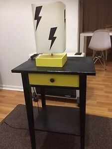 Black and yellow painted ikea bedside with lamp Maryland Newcastle Area Preview