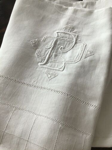 """Antique/Vintage French Linen Hand Embroidered TableCloth Double Mono CJ? 71""""x92"""""""