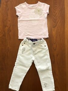 Girls 2T Roots t-shirt and Oshkosh jeans