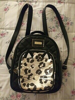Betsey Johnson Black and Gold Kitty Small Backpack/Purse