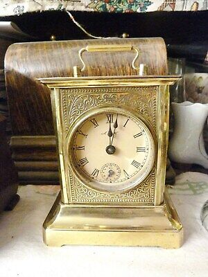 ANTIQUE BRASS MANTEL CARRIAGE CLOCK ALARM GERMAN ANTIQUE MUSIC BOX SERVICED OLD