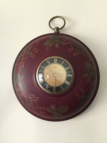 """VINTAGE Metal Tole Painted 8 Day Movement Wind-Up Wall Clock- Approx. 11 1/4"""""""
