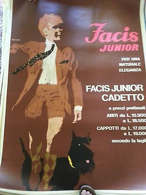 Original 1960s Italian Facis men's fashion poster on linen -- oversize!
