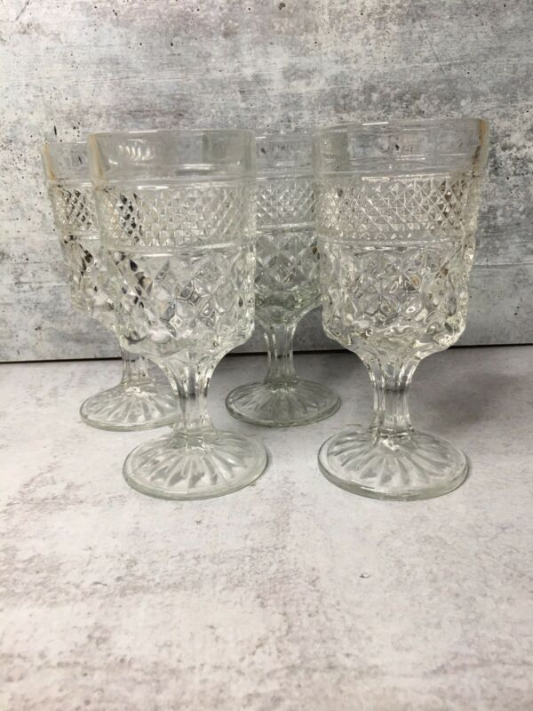 "Wexford Wine Juice Goblets Set of 4 Clear 5 1/2"" tall Anchor Hocking Glass"