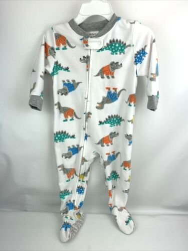 12 Months Baby Boy 1 Piece Footed Fleece Pajamas Zip Up Dinosaurs