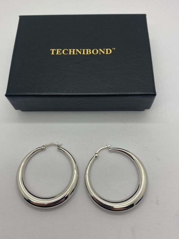 """Sterling Silver 925 High Polished Bold Round Hoop Earrings 1.5"""" Platinum Plated"""