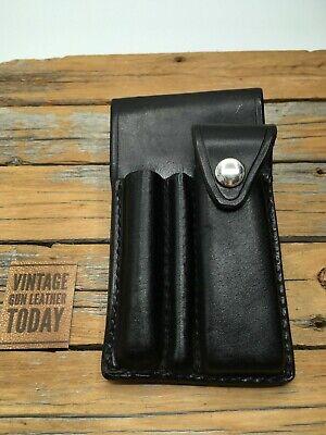 Paramedic Kit Black Basketweave Leather 3 Compartment Medic Emt Ems Belt Case