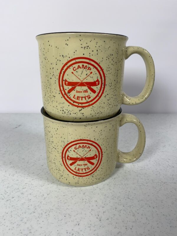 Camp Letts Boy Scouts Speckled Diner Coffee Mug Cup Set Of 2