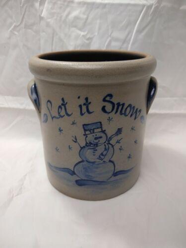"Rowe Pottery Works Snowman ""Let it Snow"" Crock Salt Glazed Blue Gray 2001 7""Tall"