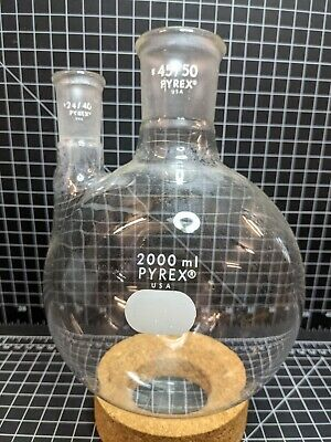 Pyrex 2000ml 2440 4550 Round Bottom Boiling Flask Distillation Lab Glass Ace