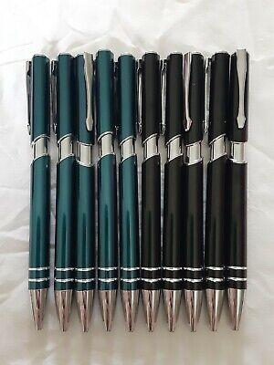 Lot Of 10 Metal Black Light Blue Gel Pen Lot Of 10 Black Ink