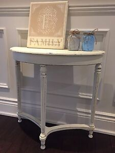 Entryway Hall Half Moon Shabby Chic Side End Table