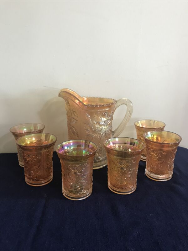 Vintage Amber Marigold Open Roses Carnival Glass Pitcher & 6 Tumblers Imperial