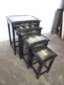 D34032 Chinese Vintage Black Lacquer Nest of Tables Oriental Shel