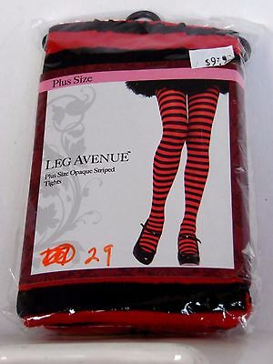 Plus Size 3X-4X Red & Black Striped Women's Tights Costumes Halloween Leg Avenue - Size 3x 4x Halloween Costumes