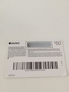 Apple Pre paid Card Never Used 60$