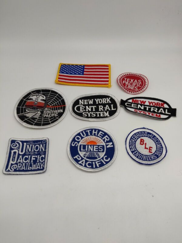 Lot Of 7 Railroad Patches Union Pacific Texas Southern Lines New York Central!